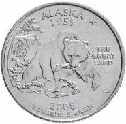 25 центов США 2008г - АЛЯСКА, VF - Серия Штаты и территории