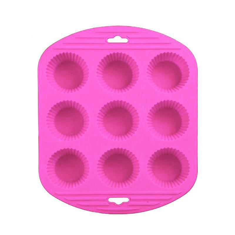 Силиконовая Рифлёная Форма Для Выпечки Кексов, 9 Ячеек, Цвет Розовый