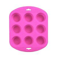 Силиконовая рифлёная форма для выпечки кексов, 9 ячеек, цвет розовый (1)