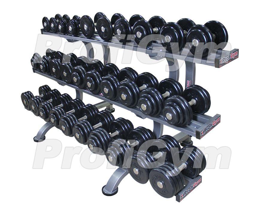 ГП-024 Обрезиненный гантельный ряд «ProfiGym» от 6 до 41 кг (15 пар)