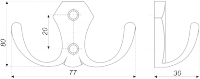 Мебельный крючок двухрожковый K203GP.2
