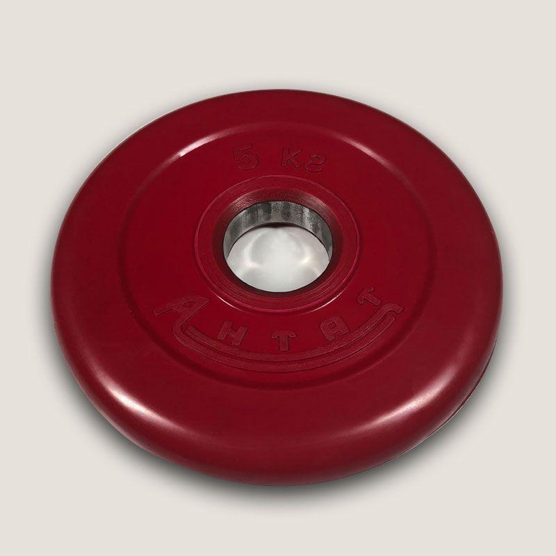 АНц-5 Диск «Антат» цветной обрезиненный 5 кг, посадочный диаметр 26, 31, 51 мм