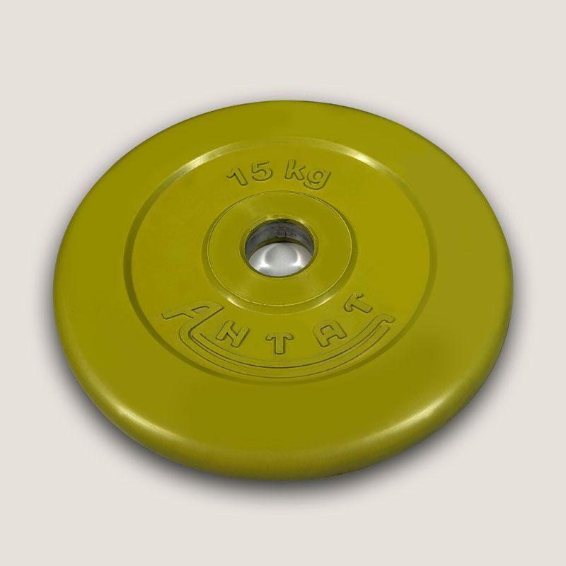 АНц-15 Диск «Антат» цветной обрезиненный 15 кг, посадочный диаметр 26, 31, 51 мм