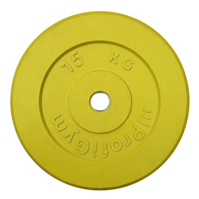 Диск «Profigym» тренировочный обрезиненный 15 кг цветной 31 мм (металлическая втулка)