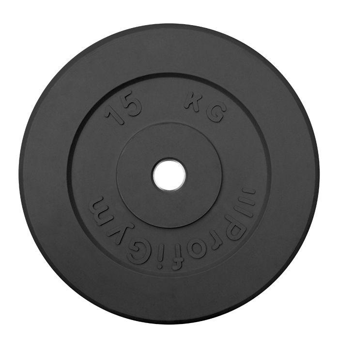 Диск «Profigym» тренировочный обрезиненный 15 кг черный 26 мм (металлическая втулка)