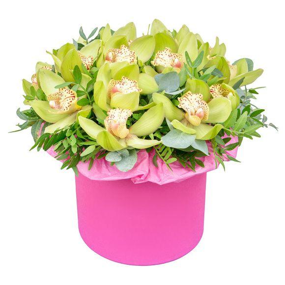 """Шляпная коробка с орхидеями """"Мулен Руж"""""""