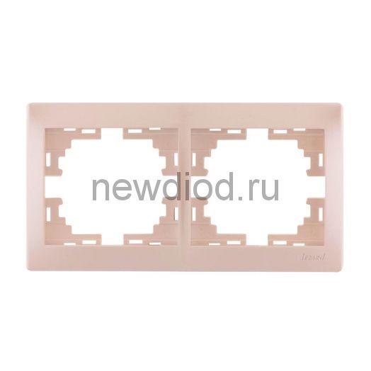 MIRA Рамка 2-ая горизонтальная жемчужно-белый перламутр без вставки Lezard