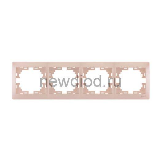 MIRA Рамка 4-ая горизонтальная жемчужно-белый перламутр без вставки Lezard