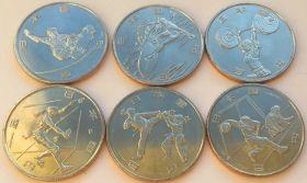 Олимпиада - 2020 в Токио  100 иен Япония 2019 Набор 6 монет Вторая серия Новинка!!!