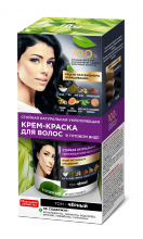 Стойкая натуральная укрепляющая крем-краска для волос серии «Народные рецепты» Тон Черный 120 мл
