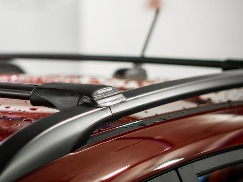 Багажник на рейлинги Kia Rio X-Line hatchback, FicoPro R-44, черный, крыловидные аэродуги
