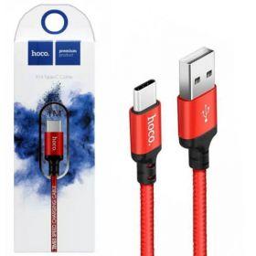 Кабель USB Type-C 2м Hoco X14 красный