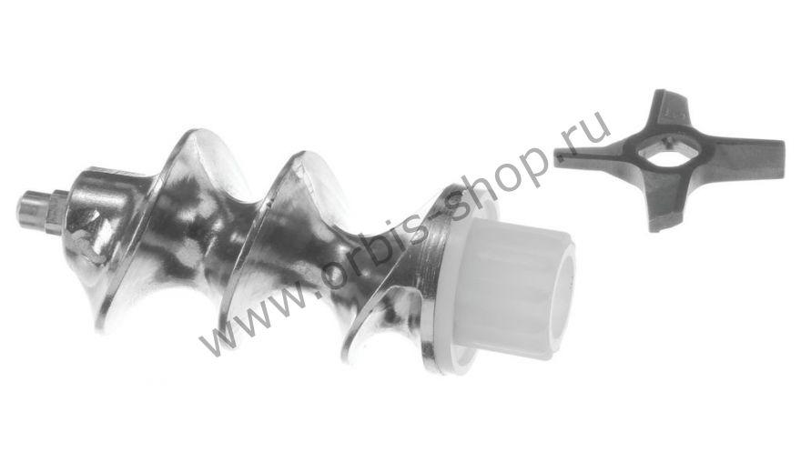 Шнек с двухсторонним ножом №5, для мясорубки/комбайна Bosch/Zelmer/Philips