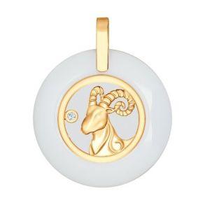 Керамическая подвеска «Знак зодиака Овен» из золота 034979 SOKOLOV
