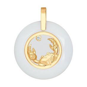Керамическая подвеска «Знак зодиака Рак» из золота 034982 SOKOLOV