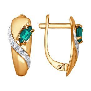Серьги из золота с бриллиантами и изумрудами 3020428 №1 SOKOLOV