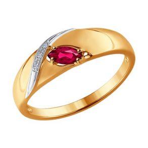 Кольцо из золота с рубином и бриллиантами 4010623 №1 SOKOLOV