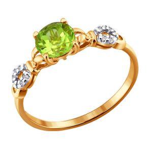 Кольцо из золота с фианитами и хризолитом 713809 SOKOLOV
