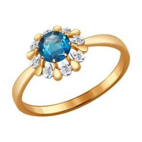 Кольцо из золота с топазом и фианитами 714450 SOKOLOV