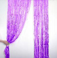 Новогодний дождик Штора, 2 м х 1 м, цвет фиолетовый (2)