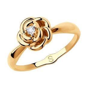 Кольцо из золота с фианитом в форме розы 018220 SOKOLOV