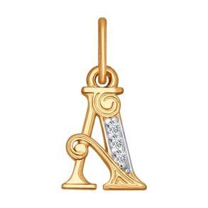 Подвеска-буква«А» из золота 033811 SOKOLOV