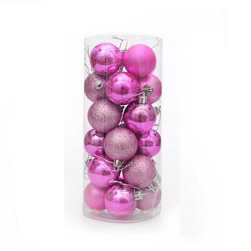 Набор украшений для елки Шары 7.5 см, 24 шт, цвет розовый