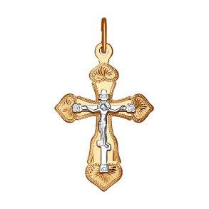 Крест из комбинированного золота с гравировкой 121223 SOKOLOV