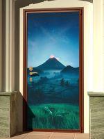 Наклейка на дверь - Подножие вулкана | магазин Интерьерные наклейки