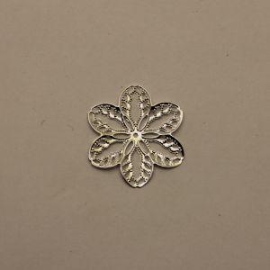 """Декоративный элемент """"филигрань"""" цветок 33 мм, цвет серебро (1уп = 50шт)"""