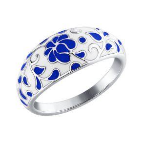 Серебряное кольцо «Гжель» 94011112 SOKOLOV