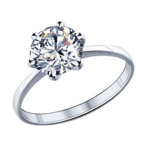 Помолвочное кольцо из серебра с фианитом 89010003 SOKOLOV
