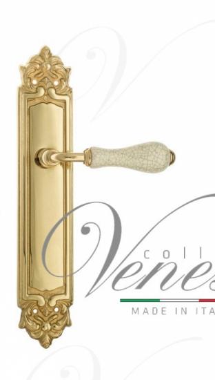 Дверная ручка Venezia Colosseo белая керамика паутинка на планке PL96 полированная латунь