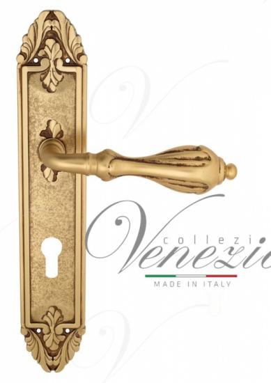 """Дверная ручка Venezia """"ANAFESTO"""" CYL на планке PL90 французское золото + коричневый"""