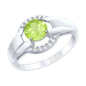 Кольцо из серебра с хризолитом и фианитами 92011571 SOKOLOV