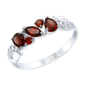 Кольцо из серебра с красными гранатами 92011594 SOKOLOV