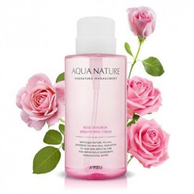 Тонер для яркости кожи A'PIEU Aqua Nature Rose Dewdrop Brightening Toner 500мл