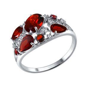 Кольцо из серебра с гранатами и фианитами 92010220 SOKOLOV