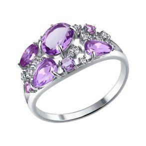 Кольцо из серебра с аметистами и фианитами 92010221 SOKOLOV