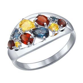 Кольцо из серебра с полудрагоценными вставками 92011099 SOKOLOV
