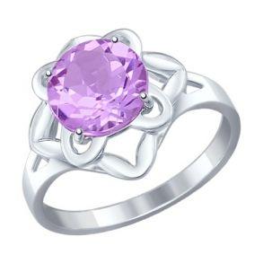 Кольцо из серебра с аметистом 92011239 SOKOLOV