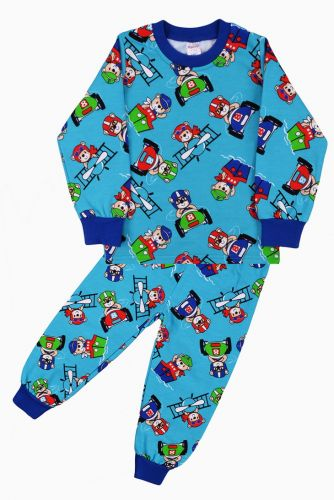Пижама с начесом, для мальчиков 2-6 лет BN921 бирюзовый