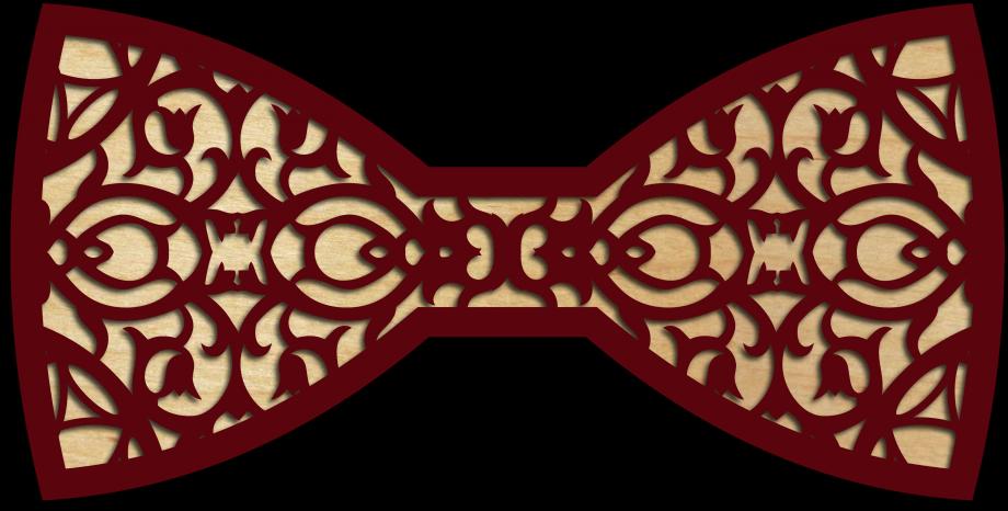 Деревянный галстук-бабочка ажурная тематика