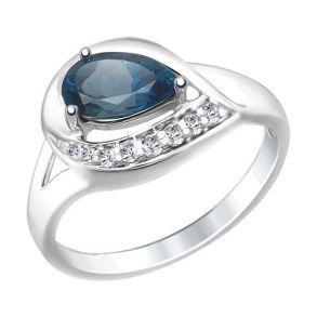 Кольцо из серебра с синим топазом и фианитами 92011445 SOKOLOV