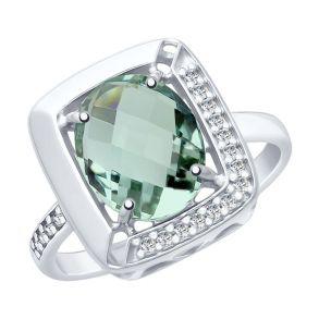 Кольцо из серебра с кварцем и фианитами 92011773 SOKOLOV