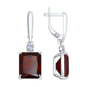 Серьги из серебра с красными ситаллами и фианитами 92021425 SOKOLOV