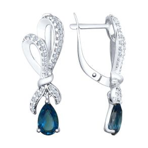 Серьги из серебра с синими топазами и фианитами 92021569 SOKOLOV