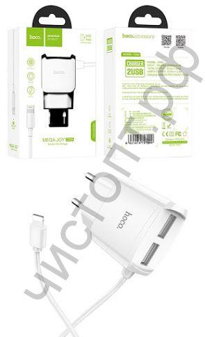 СЗУ 2 USB HOCO, C59A, Mega joy, 2100mAh, Apple 8 pin, пластик, цвет: белый