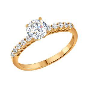 Помолвочное кольцо из золочёного серебра с фианитами 93010036 SOKOLOV