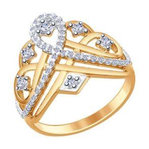 Кольцо из золочёного серебра с фианитами 93010635 SOKOLOV